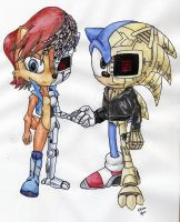 Cyber Sonic and Sally by Elisto