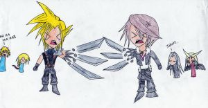 Squall vs. Cloud- Chibi Style by DragonWorrior