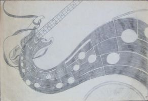 Base Guitar Pencil Sketch by Geak-of-Nature