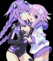 Hyperdimension Neptunia Neptune and Purple heart by STATICKILO