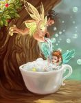 Bathing Fairies by Meradlin