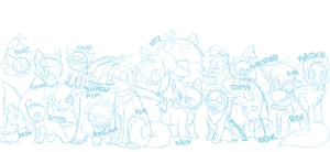 All my characters -sketch- by Sliced-Penguin