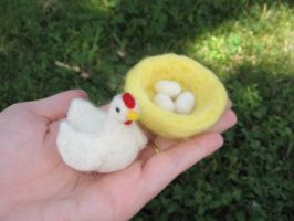 Little Hen with Nest and Eggs by Elfs-Toyshop