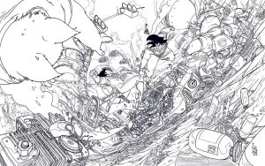 Vegeta vs Goku lineart by IgorWolski