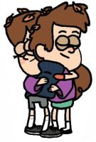 Gravity Falls: Awkward Sibling Hug by Closer-To-The-Sun