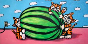 Three Tigers and One Watermel by MBLASTER