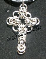 Chainmaille Cross In Bright Aluminum by Barbsdesigns