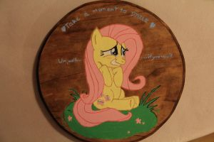 Fluttershy Plaque - Smile, if you want! by farondk