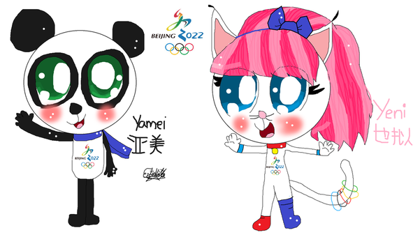 Yamei and yeni mascots beijing 2022 by pasword15703