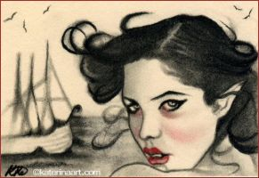 A beautiful boat Aceo sketch by Katerina-Art