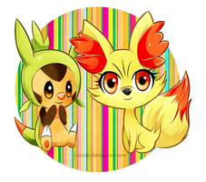 Chespin and Fennekin by i-Zorak