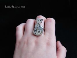 Lauren the Cat - Steampunk cat ring by IkushIkush