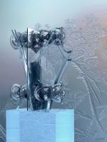 Glass Sculpture with frosted background by marijeberting