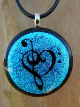 Light Blue Music Love Glass by FusedElegance