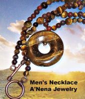 Men's Genuine Tiger's Eye and Jasper Necklace by ANenaStudios