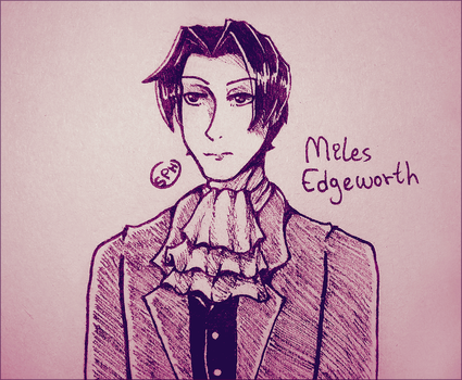 Ace Attorney | Miles Edgeworth | Inktober Day 25 by SpanishPandaHero