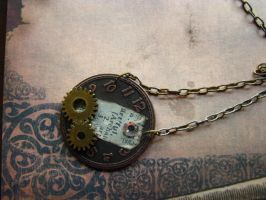 Steampunk Necklace Watch Face Pendant with Gears by bcainspirations