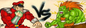 Street Fighter: Mr Bison vs Blanka by Insanemoe