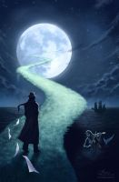 The Writer and the Moon by maril1