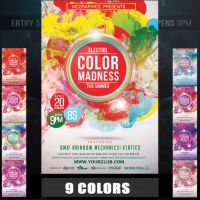 ELECTRO COLOR MADNESS FLYER TEMPLATE by MCerickson