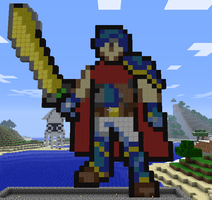 Minecraft Ike Statue by myvideogameworld