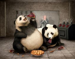Morbidly Obese Pandas by Kazu-p