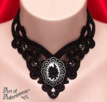 Harlequin Gothic Rose Cameo Lace Choker by ArtOfAdornment