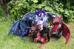 Group shot OOAK handamde poseable dragons by DragonForge311088