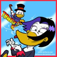 Scrooge McDuck beating the hell out of Magica by Aniforce