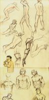 Nude male figure drawings by abibuu