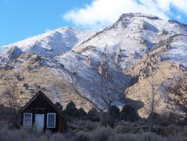 Cabin and Mountain by tkrain-stock
