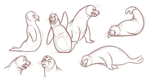 Seals Sketch Page by Temiree