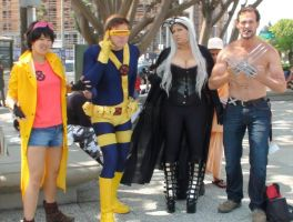 Jubilee, Cyclops, Storm, and Wolverine at AX 2013 by trivto