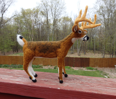 Needle Felted WhiteTailed Deer Buck by DancingVulture