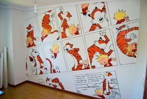 Calvin and Hobbes Wall by TyrannRex