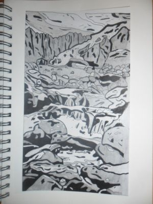Waterfall Sketch by SamanthaHaf