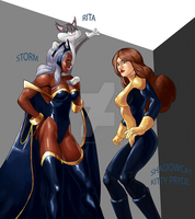 Cats (Storm, Rita, Kitty Pryde) by Stitchking83