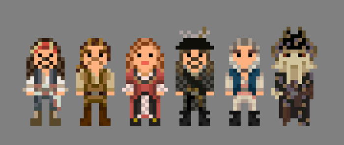 Pirates of the Caribbean Characters 8 Bit by LustriousCharming