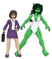 Savage Era Jen and She-Hulk by CycKath