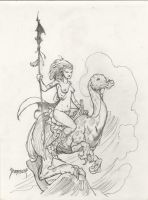 Dragon rider drawing by Dubisch