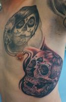 a calavera and a skull project ... in progress by graynd