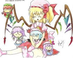 Flandre with Touhou Chibis by Monochii