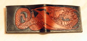 leather carved wallet with dragon by LeszekGyver