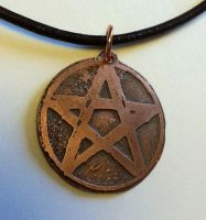 Etched Copper Pentacle Necklace by MoonLitCreations