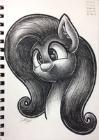 Fluttershy Pen Sketch by sheandog
