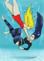 Panty jumping Stocking into the pool by GelDibson