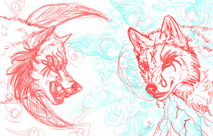 Skoll and Hati Sketch by Mauston-girl