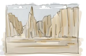 Desert Mountain Sketch by ThagVictor