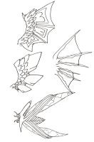 Lineart : Wing Designs by CelestialTentails