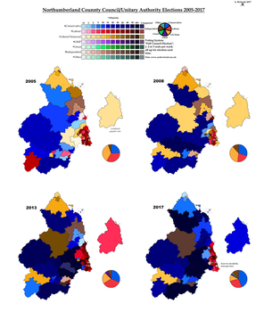 Northumberland CC/UA Elections 2005-2017 by AJRElectionMaps